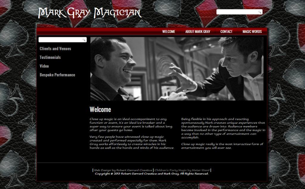 Mark Gray Magician Website