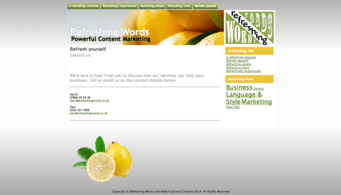 Refreshing Words Website